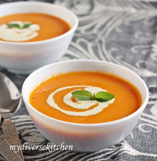 Roasted Tomato And Carrot Soup With Basil Cream (GF)