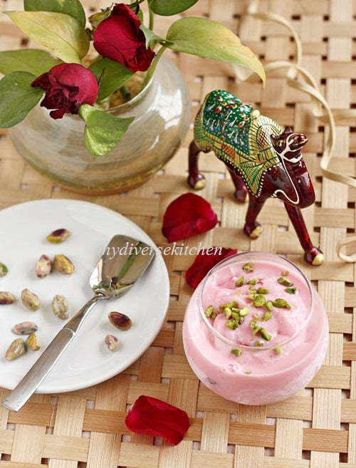 Rose, Pistachio & Cardamom Ice-cream With Gum Arabic (GF)
