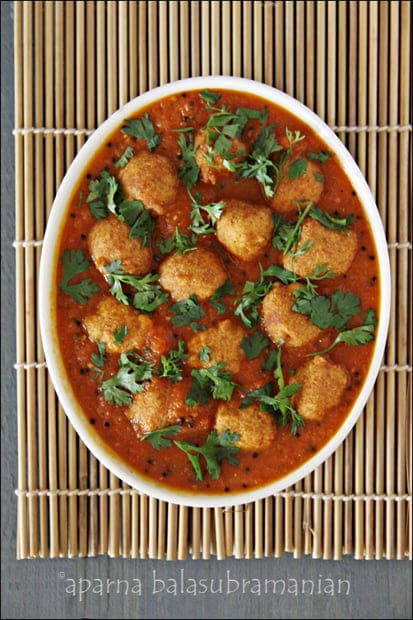 The Vegan Kitchen : Bollywood Style – A Book Review, A Giveaway &Boror Tenga – Assamese Tomato Curry With Lentil Dumplings (GF, V)