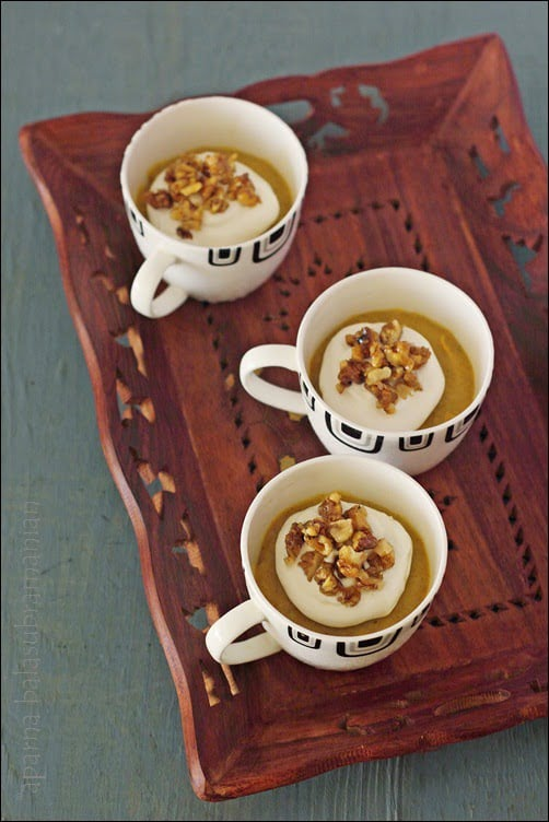 Egg-free No-Bake Pumpkin Pie Pudding With Candied Nuts/ Praline