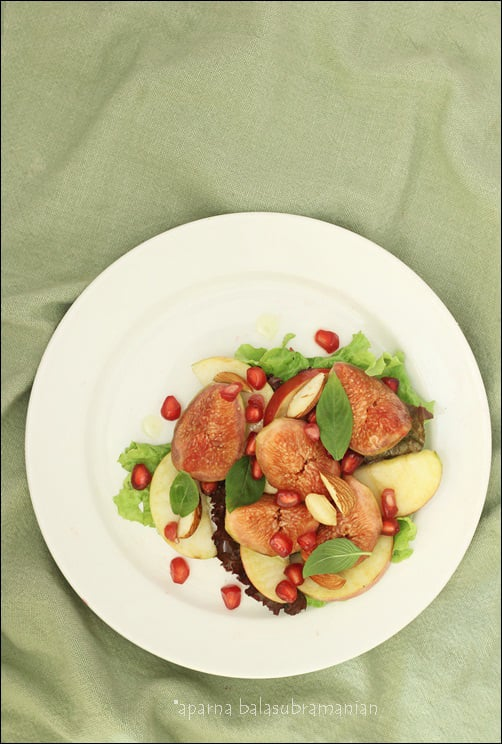 Fresh Fig And Apple Salad with Pomegranate & Toasted Almonds