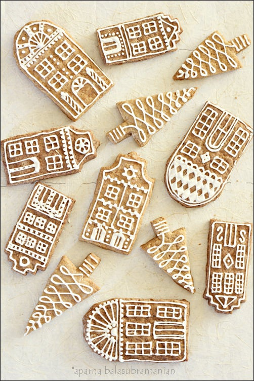 Decorated Gingerbread Row House Cookies