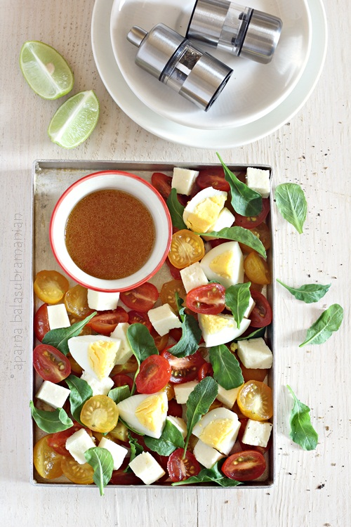 Egg, Tomato and Paneer Salad