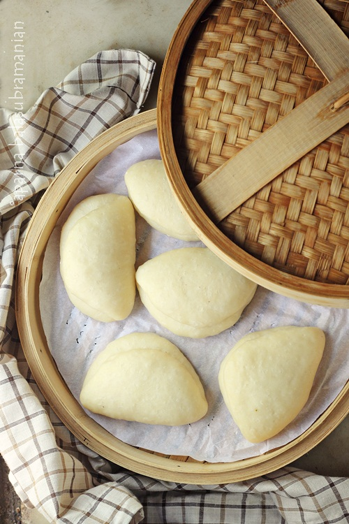 Steamed Bao Buns in Steamer