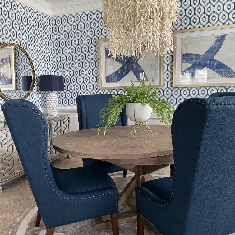 Blue sitting room.