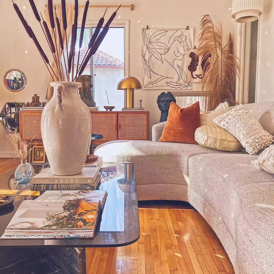 Eclectic boho space with cozy lighting.