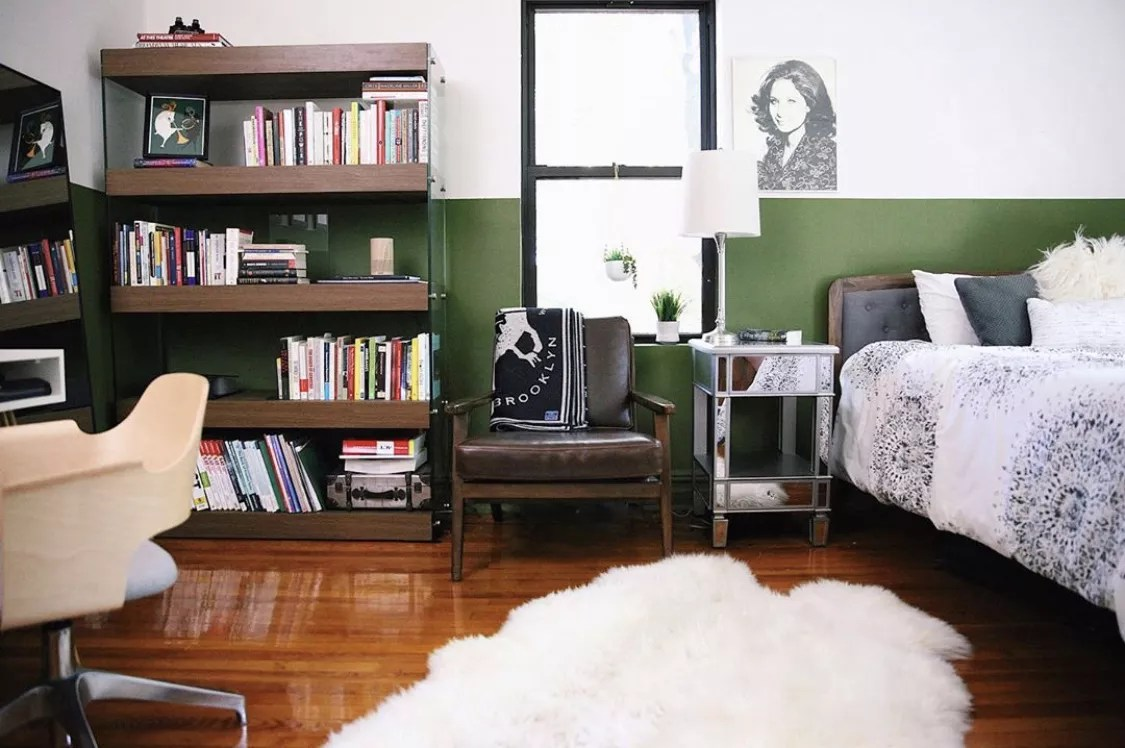 Bright green colorblock wall.