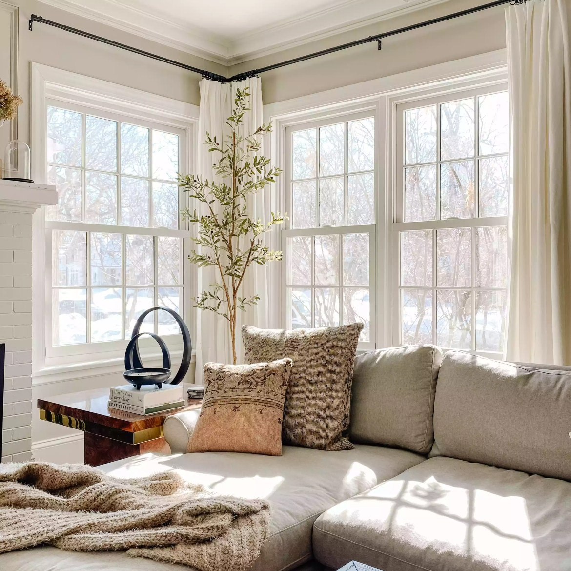 Cozy neutral living room with lots of light.