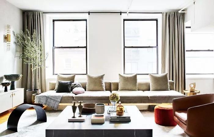 Living room features sculptural décor