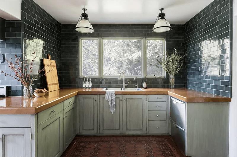 Green kitchen.