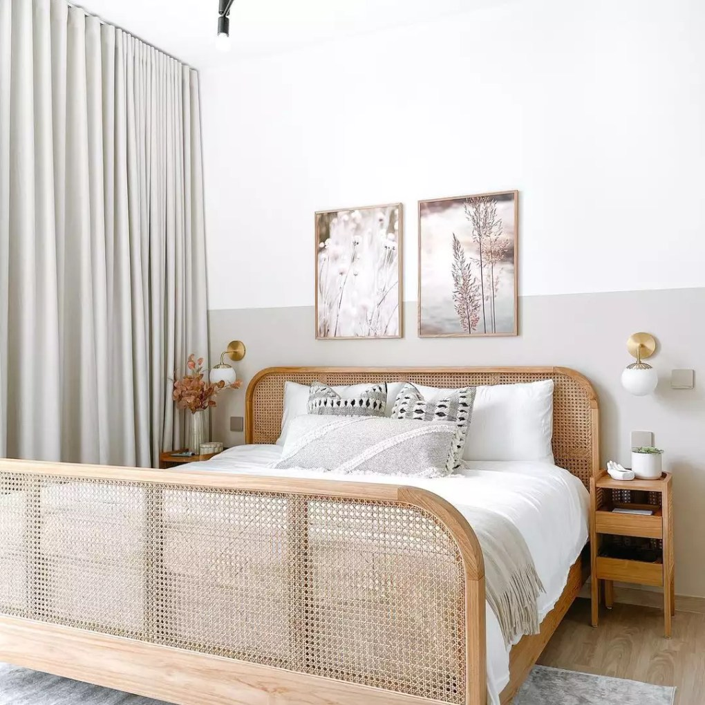 Soft neutral bed with cane bedframe.