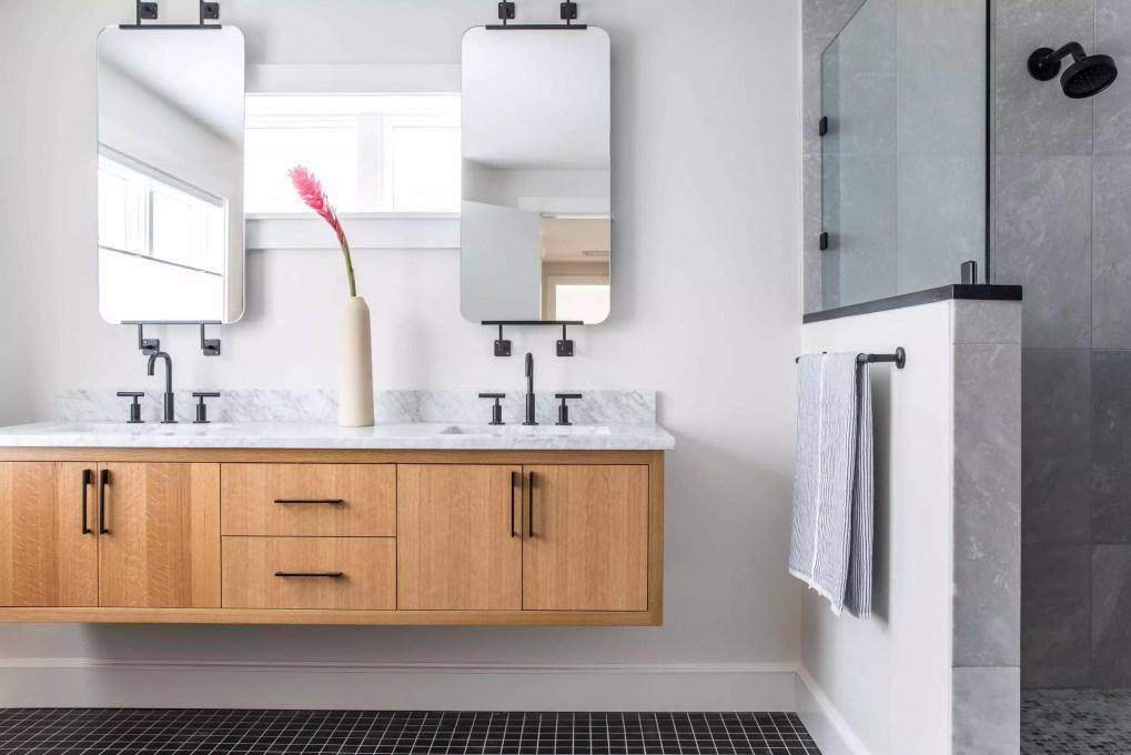 Floating vanity in modern bathroom
