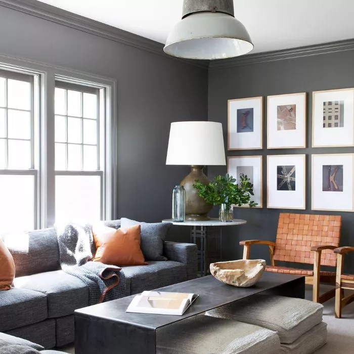 living room with gallery wall art