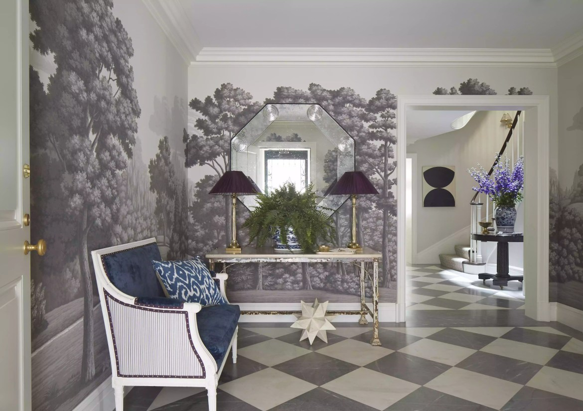 Luxe entryway with large velvet bench.