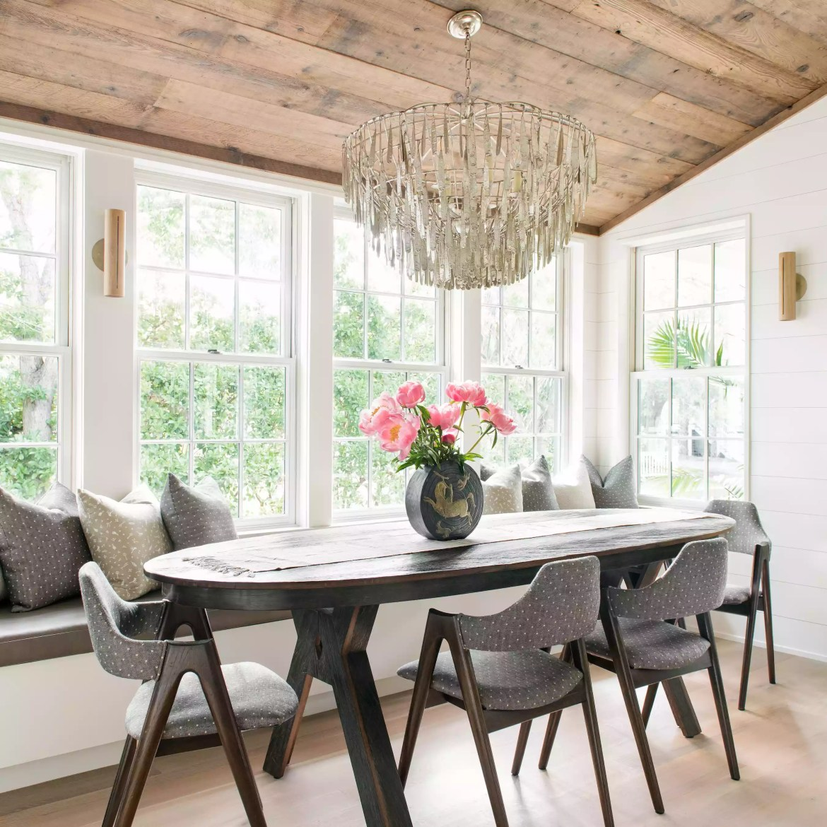 Dining space with crystal chandelier.