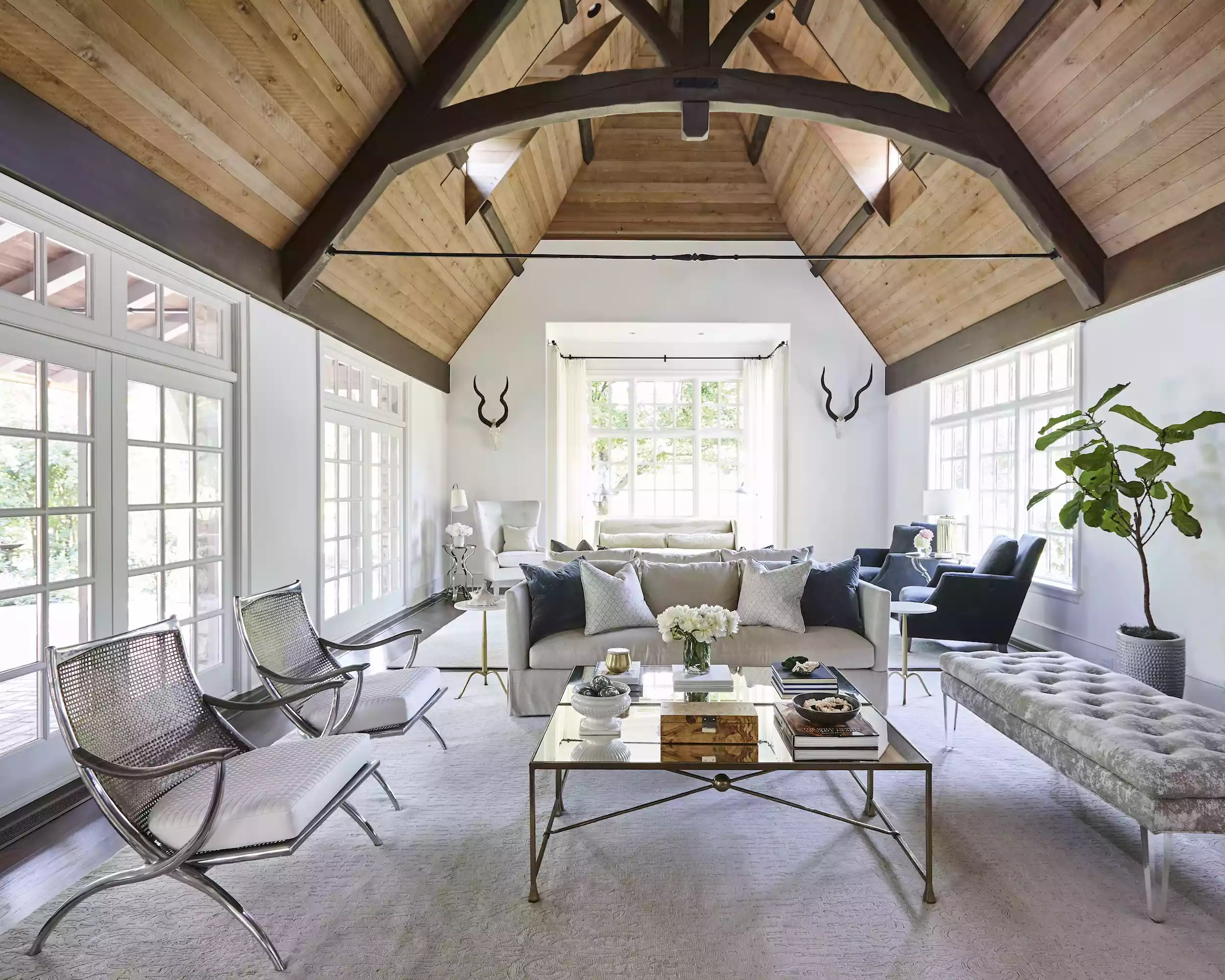 Wooden cathedral ceiling living room