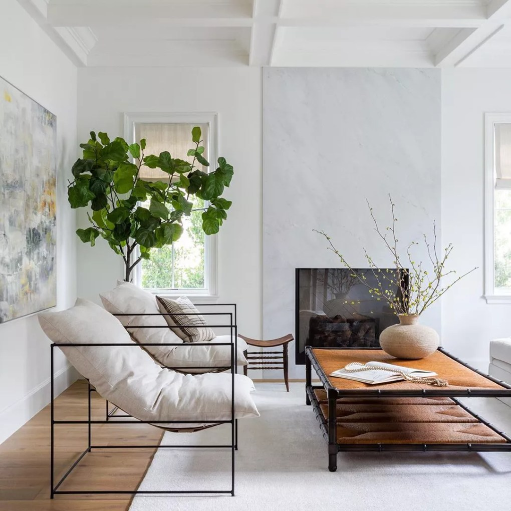 Modern living room with metal chairs