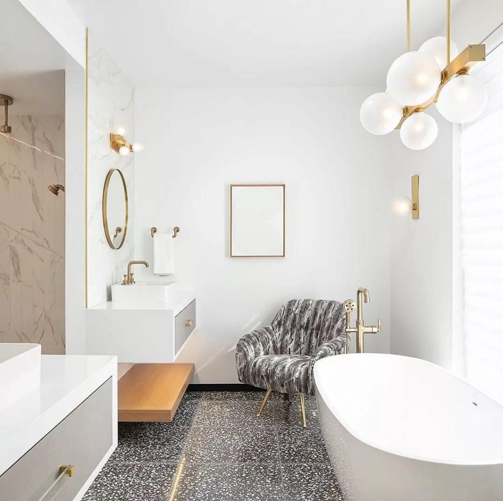 Bathroom with a soaking tub