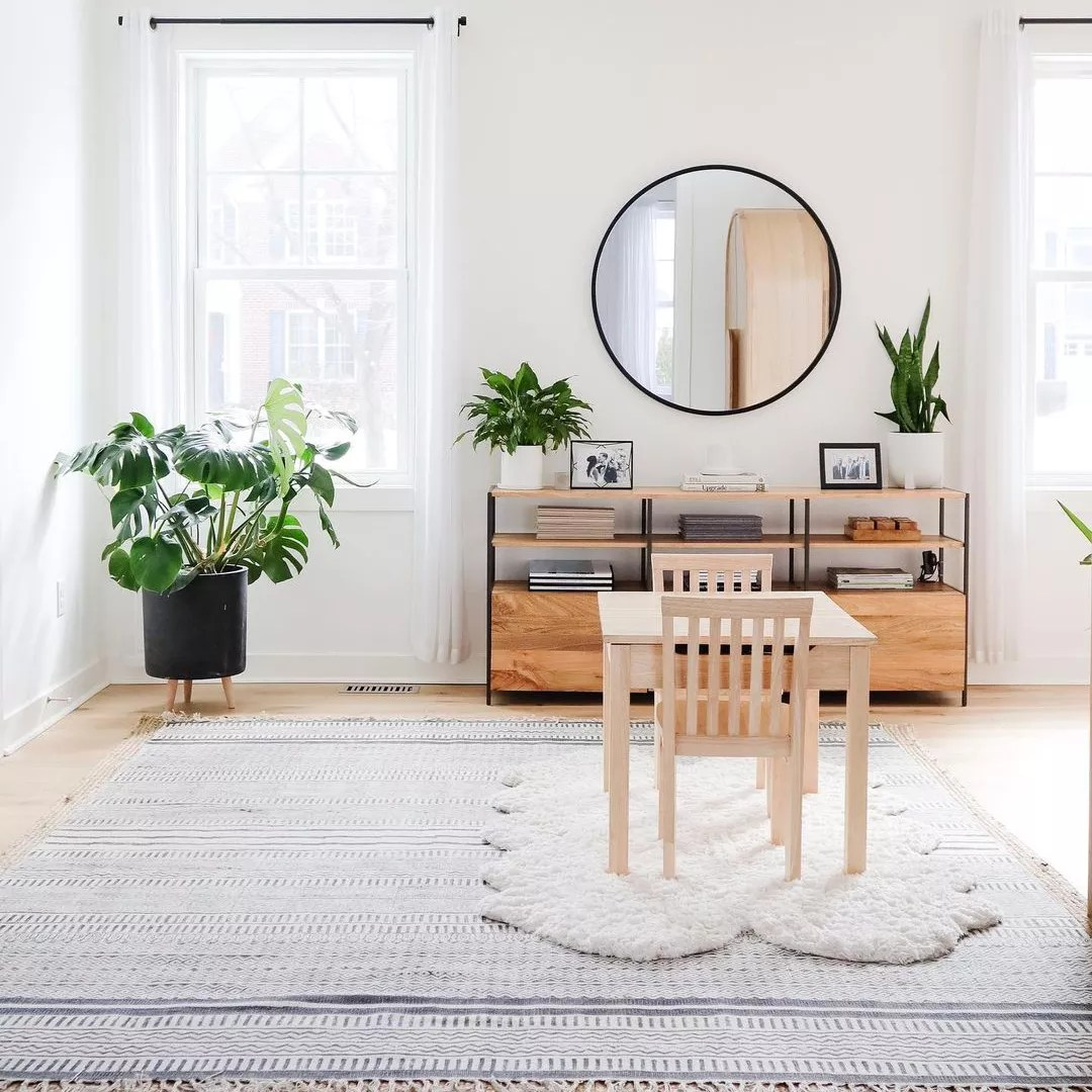 Open living room with large area rug and monstera plant.