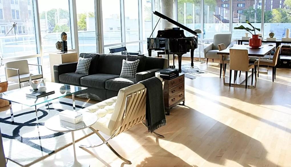 Open floor plan with modern furniture