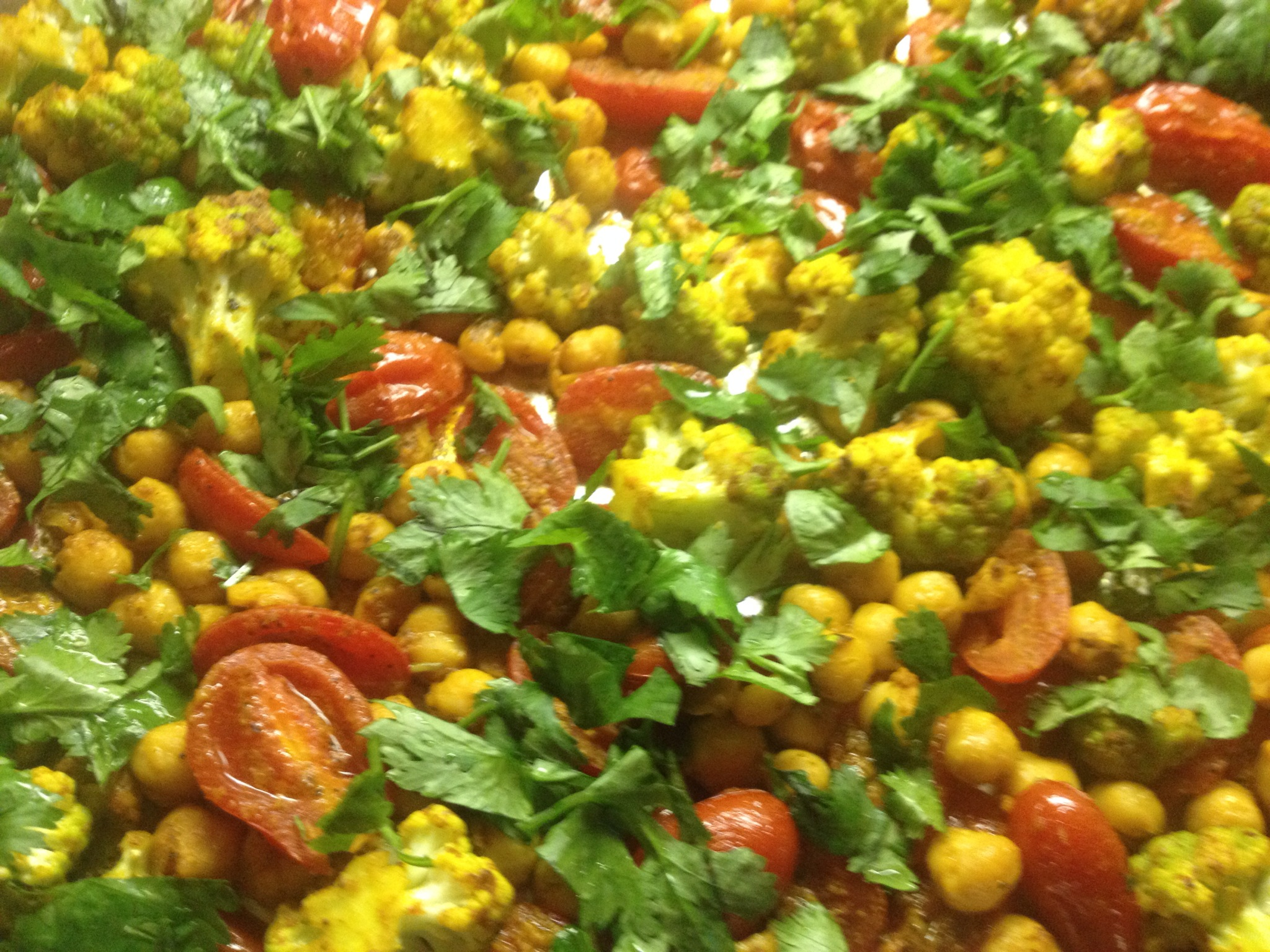 Roasted Cauliflower, Tomatoes, Chickpeas with Indian ...