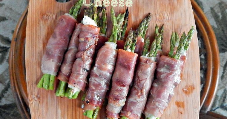Grilled Asparagus-Prosciutto Bundles with Herbed Goat Cheese
