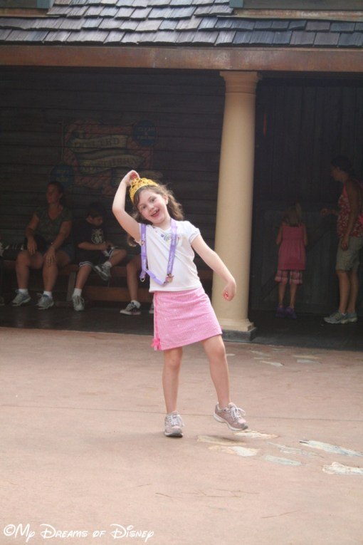 Over by Splash Mountain, Sophie was sharing with whomever would watch her dramatic pose!