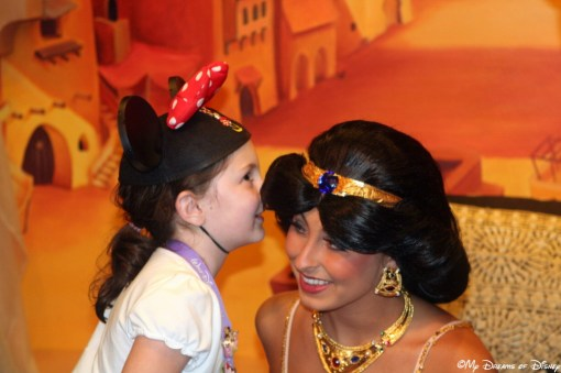 In one of my favorite Disney Memories, here Sophie is in Morocco telling Princess Jasmine all about the costume she is going to buy!