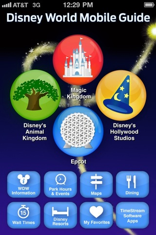 Disney World Mobile Guide Home Screen - 320 x 480