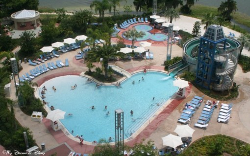 The pool at Bay Lake Tower! Awesome slide!