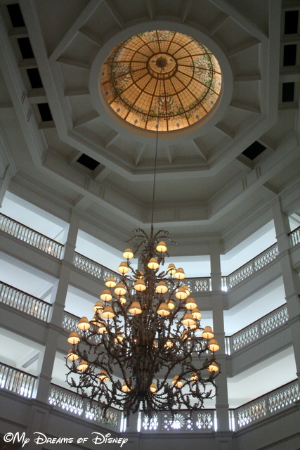One of the chandeliers in the lobby.