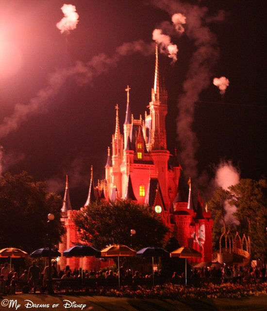Nighttime Fireworks over Cinderella Castle in 2010!