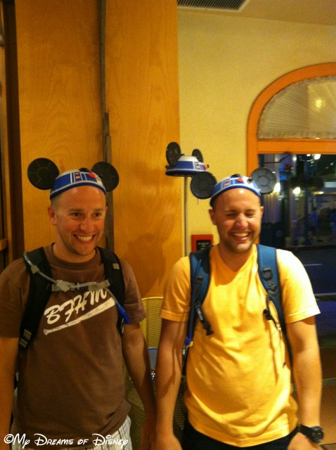 Shane (on right) and Kyle enjoying a fun moment with the R2D2 hats they were trying on!