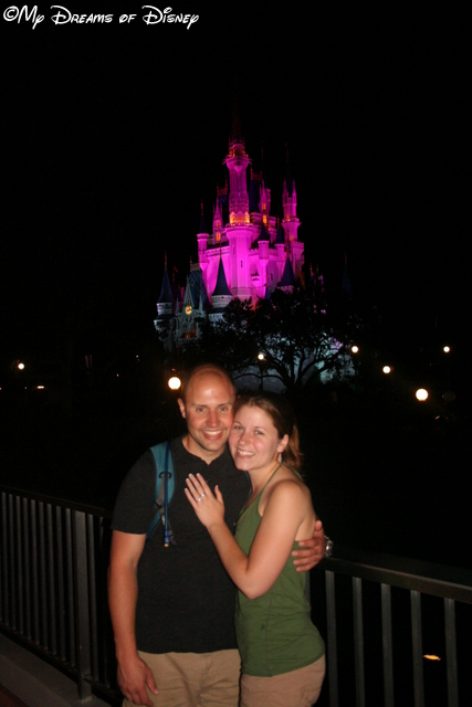 Shane and Stephanie with Cinderella Castle in the background.
