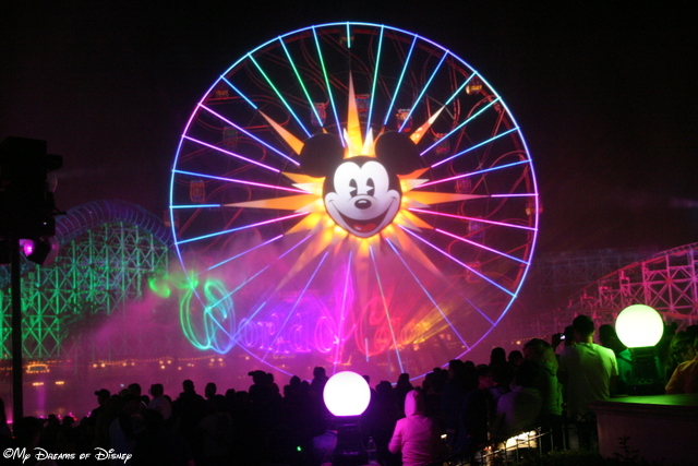 This shot shared two family favorites -- the World of Color and Mickey's Fun Wheel!