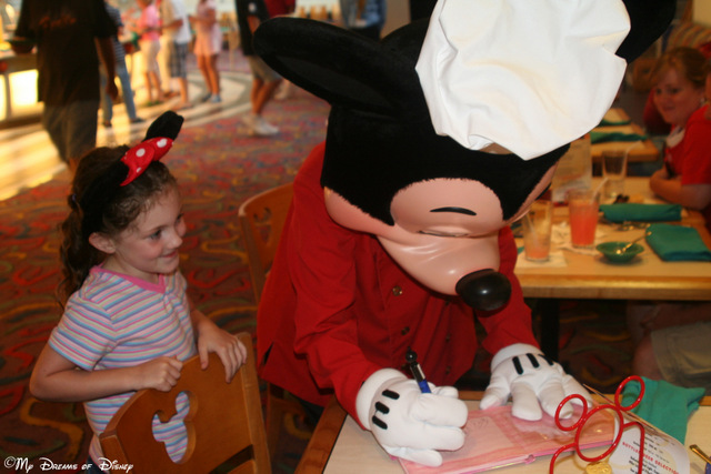 The look on Sophie's face is priceless in this trip to Chef Mickey's in 2007!