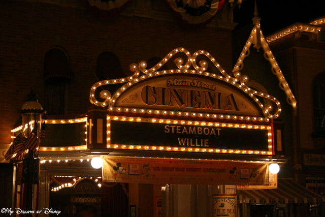 The Main Street Cinema still shows original cartoons of Mickey Mouse and his friends, including Steamboat Willie!