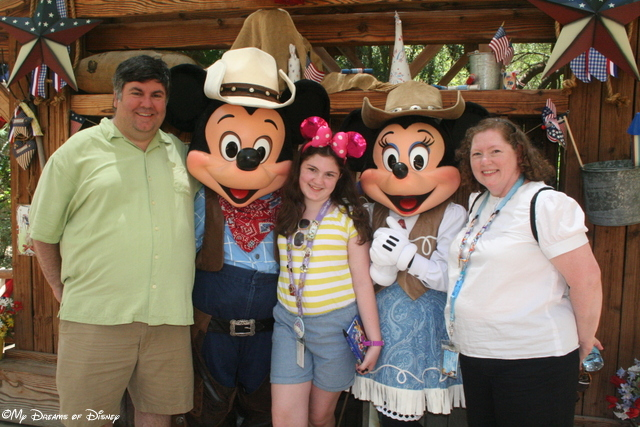 At Disneyland, we were able to get our pictures taken with Mickey & Minnie at Big Thunder Ranch!