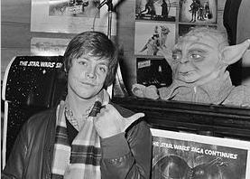 Mark Hamill with Yoda 1980
