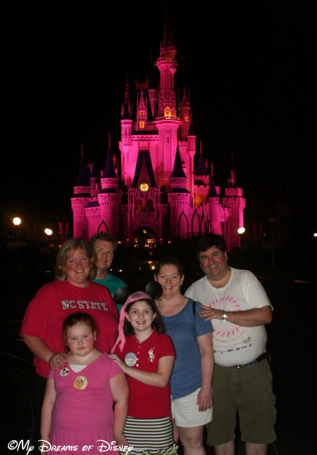 Our first night, getting a picture in front of Cinderella Castle.  We were a little beat!