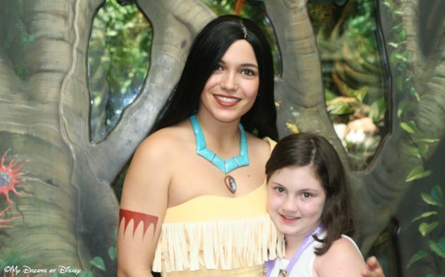 Sophie with Pocahontas, taken at Rafiki's Planet Watch