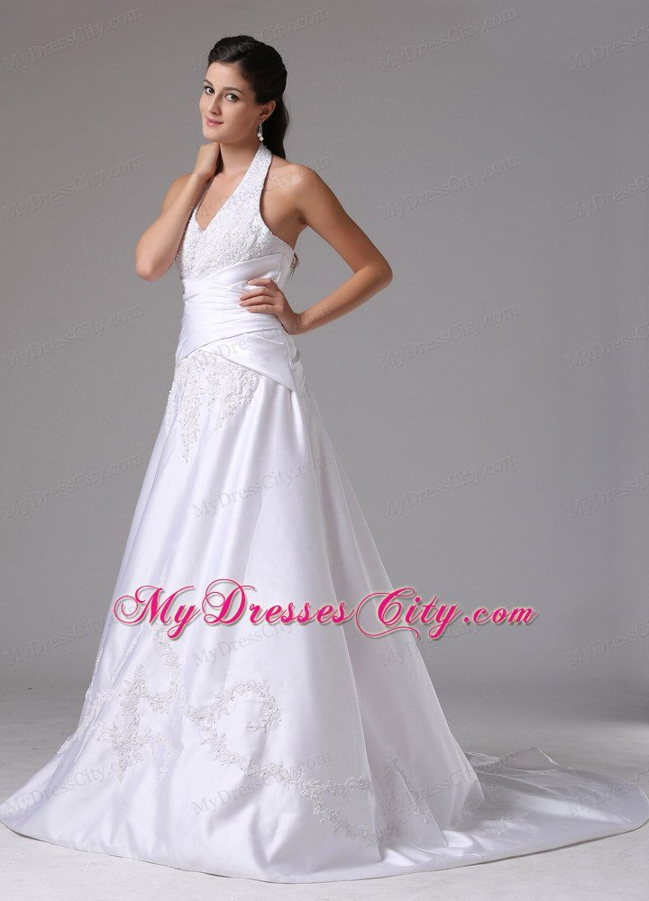 Halter A Line Embroidery Brush Train Ruched Bridal Dress