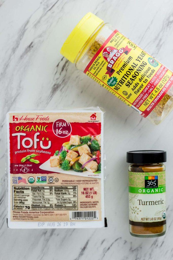 Tofu Scramble ingredients - tofu, turmeric, and nutritional yeast