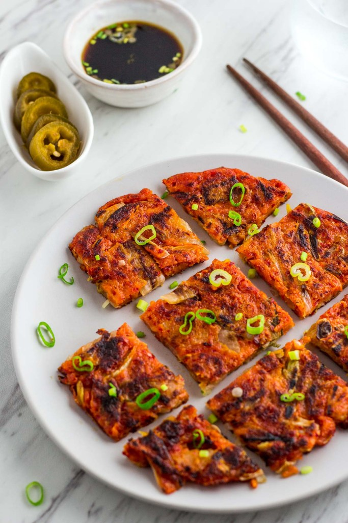 kimchi pancakes with dipping sauce