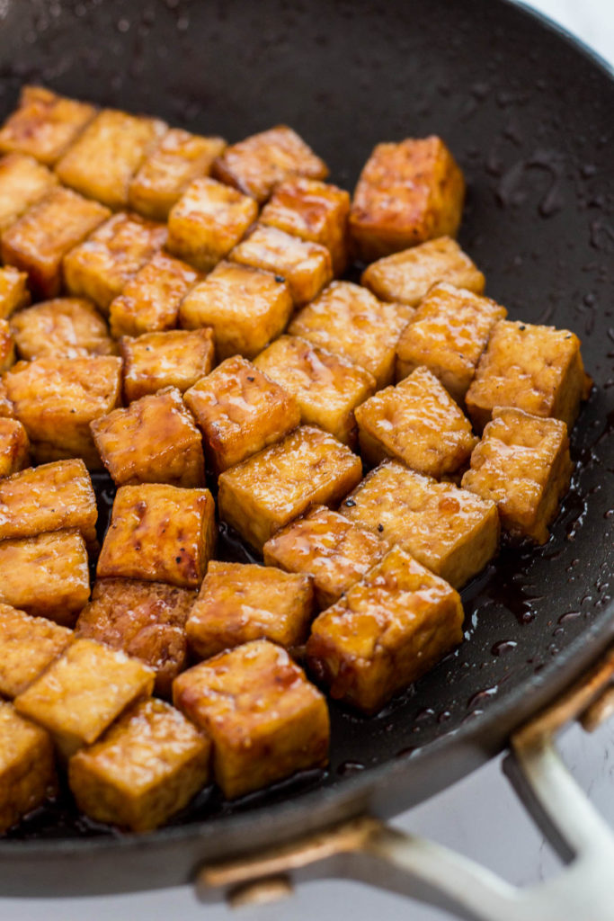close up photo of Teriyaki tofu in the pan