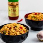 two extra spicy vegetable fried rice in the bowl