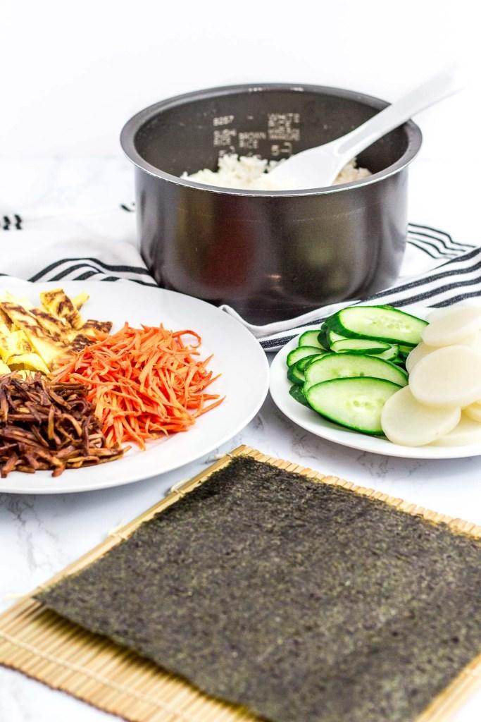 Ingredients to make vegetarian kimbap onigirazu