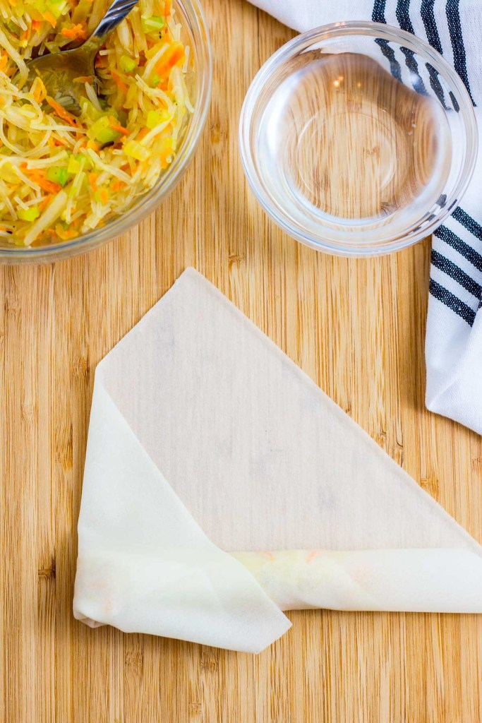 How to fold spring roll - step 5