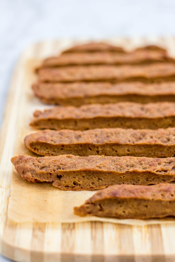 baked beef flavored seitan then sliced into strips