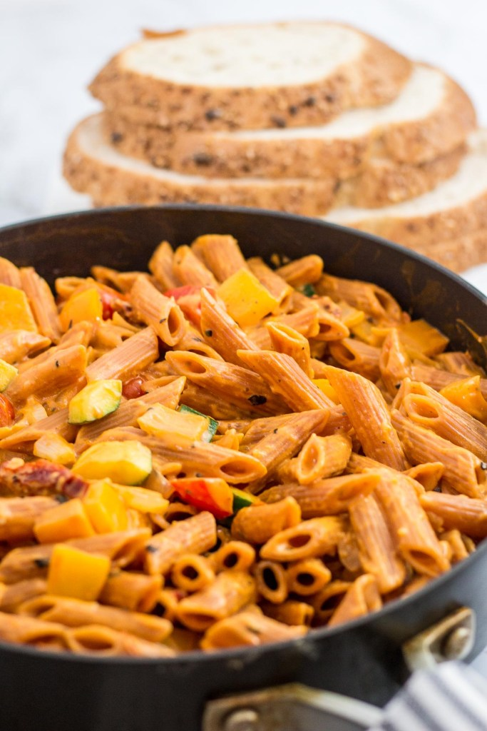 Vegan creamy pasta primavera in the skillet